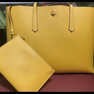 Yellow Kate Spade Molly Tote with pouch